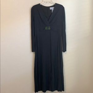 Jessica Howard Dark Olive Green Long Sleeve Dress